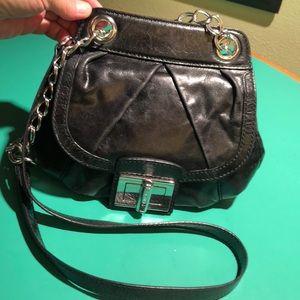 B. Makowsky Black Chained Handle Crossbody Handbag